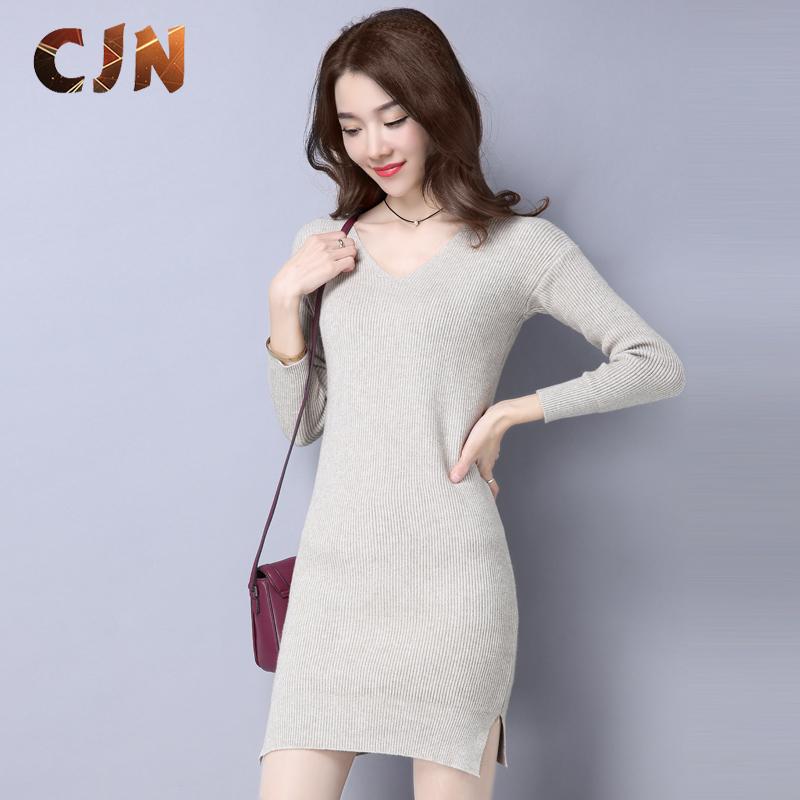 品牌秋冬季毛衣女套头厚宽松韩版毛线打底衫女装针织衫中长款