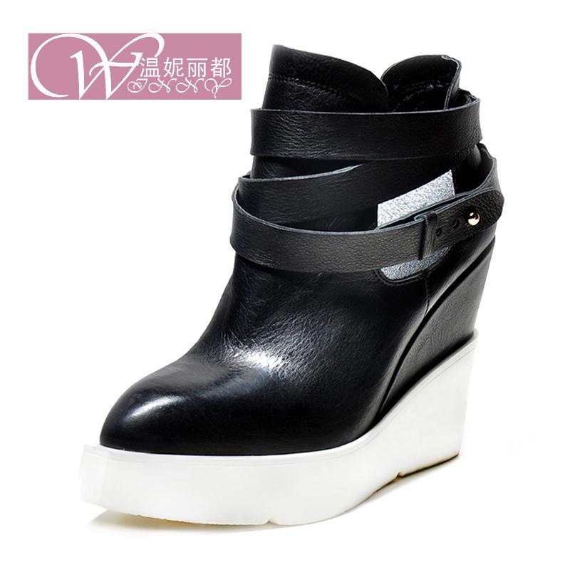 Европейская мода женские сапоги кожаные сапоги для падения 2014 импорта супер голая ботинки с толстой подошвой размер 34