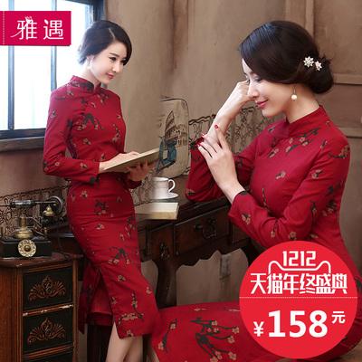 棉麻长袖旗袍连衣裙,邂逅气质女人