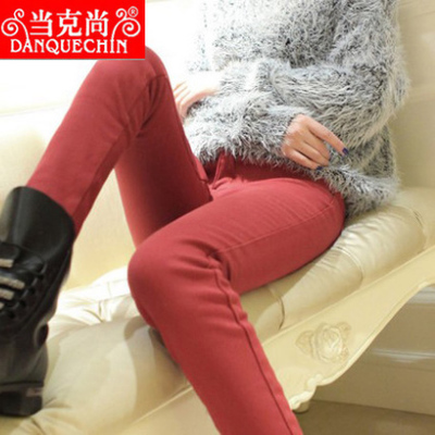 Hitz plus thick velvet jeans Ms. Korean tidal stretch was thin candy colored pencil pants feet