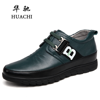 Chi winter new men's casual leather shoes men 6cm stealth sub British tide shoes elevator shoes