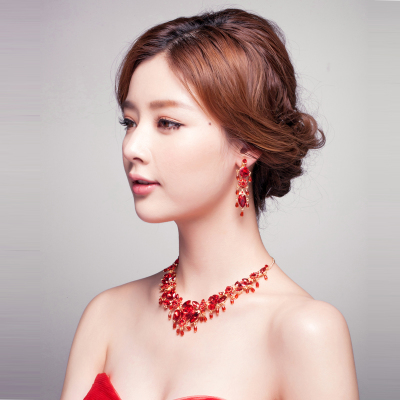 Pour flowers ornaments hung shadow. Bridal necklace earring piece suit dress Korean red necklace earrings jewelry