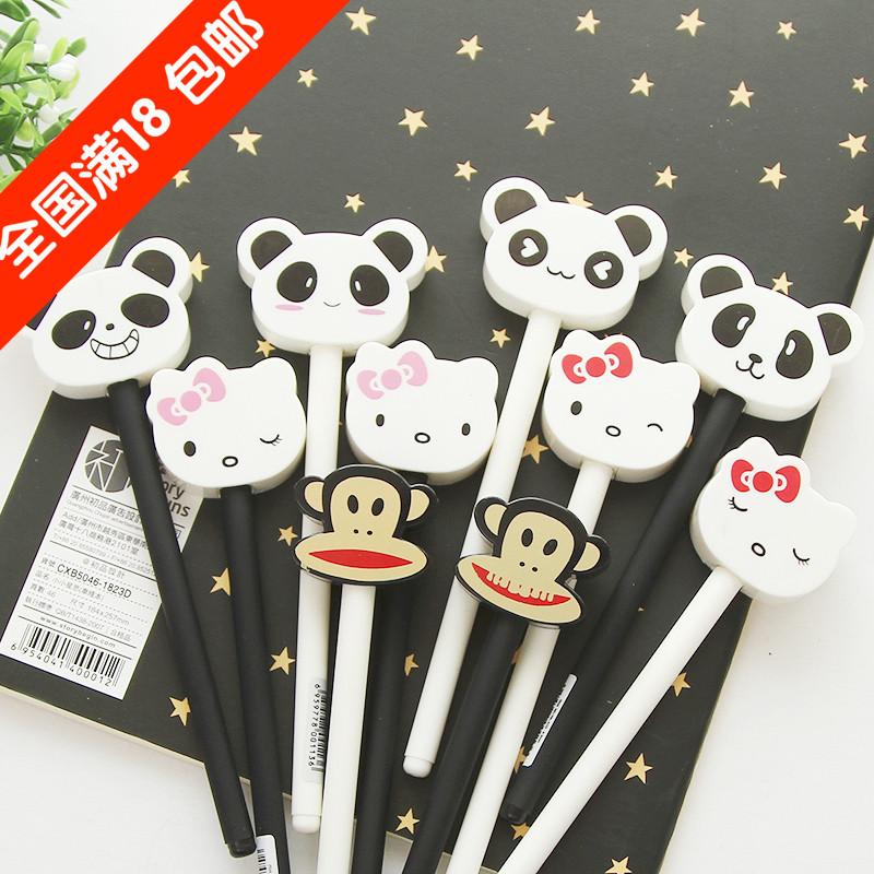 18包邮日韩文具批发 可爱萌物针管笔0.5mm 卡通笔帽式黑色中性笔