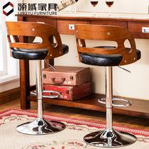 吧台椅升降高脚凳现代简约酒吧高椅子手机店实木凳子家用欧式吧椅