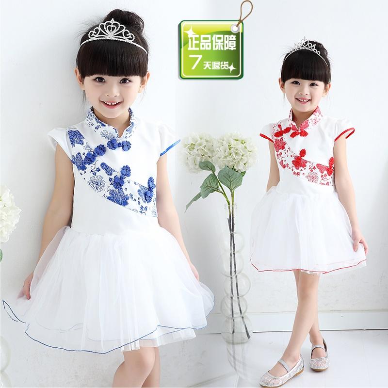 女童短袖连衣裙夏季新款儿童旗袍中国风公主裙纱裙童装演出礼服