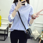 2019春装蓝白竖条纹衬衫女长袖宽松学生加绒衬衣拼接上衣
