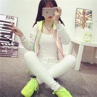 2015秋冬新款韩版短款彩虹外套学生装加绒长袖拉链开衫连帽卫衣女