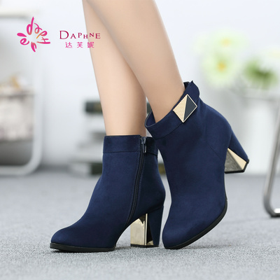Daphne / Daphne 2014 Winter matte fabric thick high-heeled pointed shoes European style boots