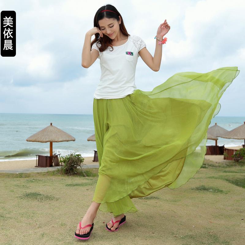 2014夏雪纺百褶半身裙8米大摆裙仙女拖地长裙大码波西米亚沙滩裙