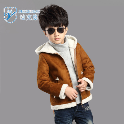 Dick Bear Boys Kids 2014 Winter new Korean version of the jacket, leather, fur coat fur