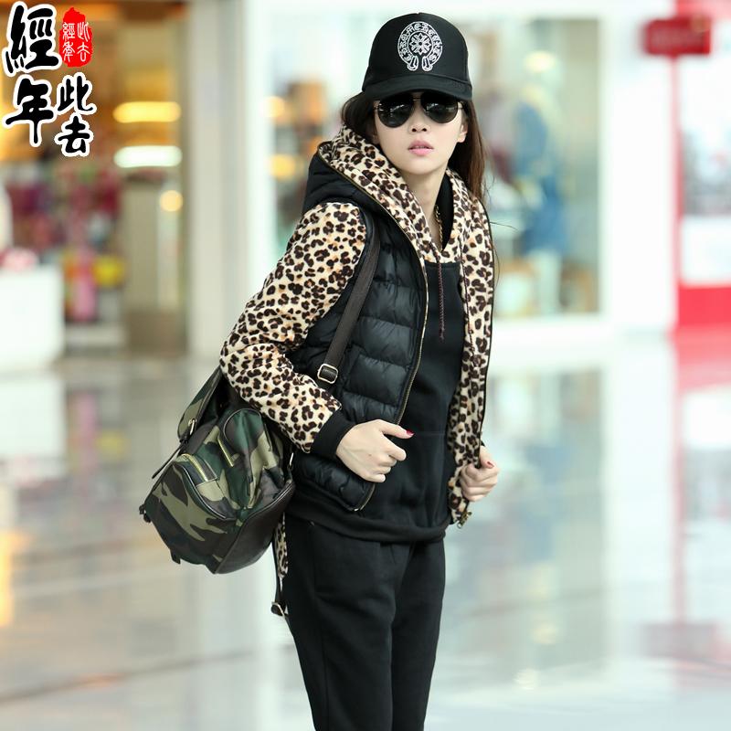 此去经年2014冬装新款女装韩版连帽马甲加厚三件套时尚卫衣套装女