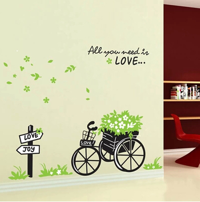 Long reach three generations removable wall stickers living room bedroom decorated floats spring green sticker AY722