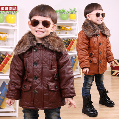 2014 new winter children's clothing boys leather quilted velvet thick warm fur collar leather jacket leather coat for children