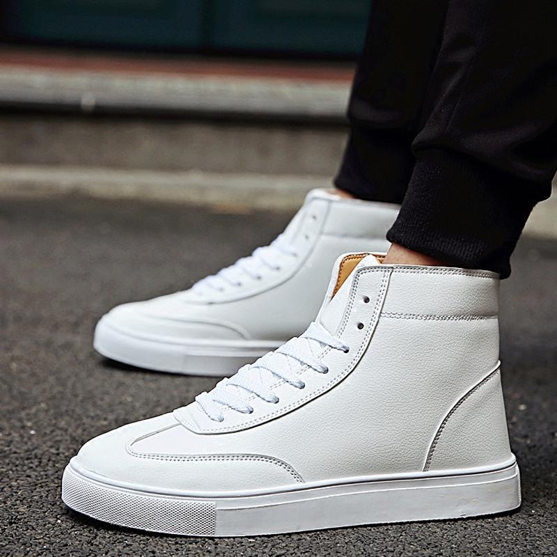 冬季男士英伦休闲高帮鞋45码白色潮流板鞋46街舞大码男鞋47小白鞋