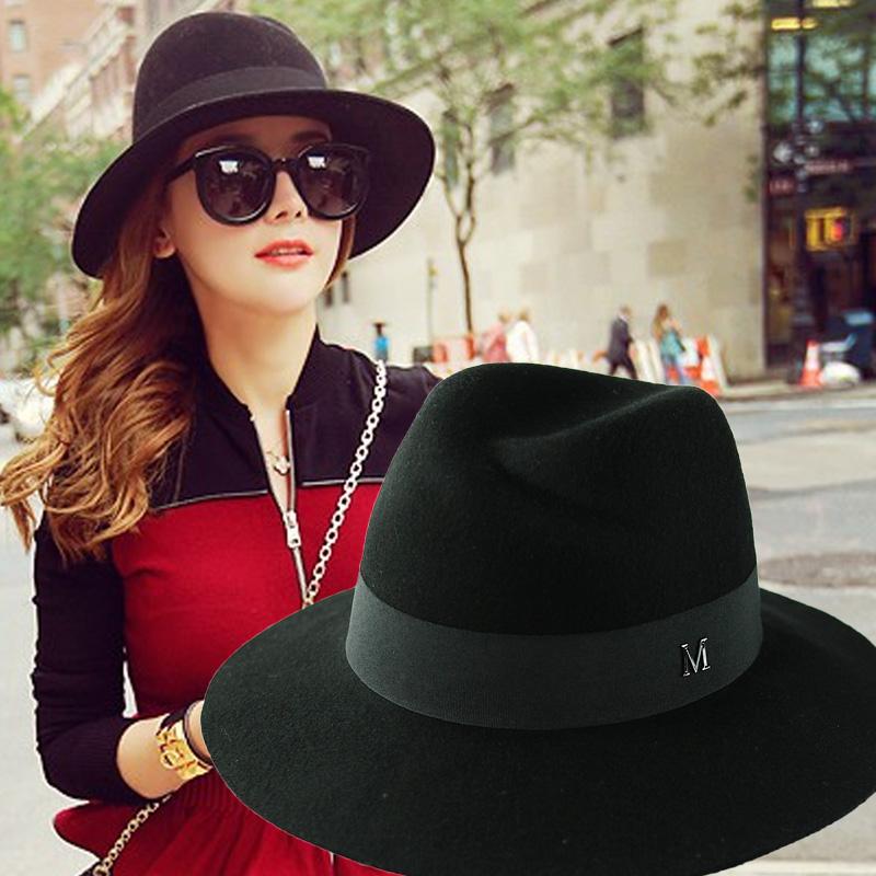 休闲时尚纯羊毛英伦帽子女士秋冬百塔复古黑色大檐毛呢礼帽韩版潮
