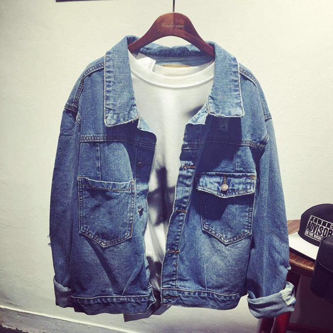 2015秋季女装新款韩版宽松大码长袖牛仔外套破洞百搭牛仔夹克上衣