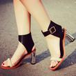2016夏季新款真皮女鞋欧美复古撞色高跟粗跟罗马凉鞋女一字扣皮鞋