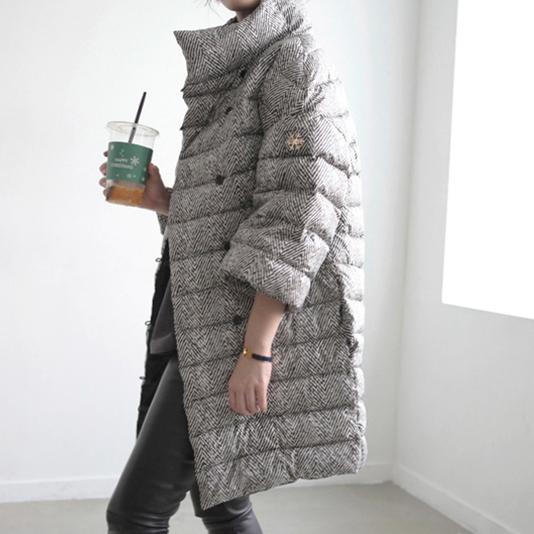 Корея покупки COMSO элегантный елочкой текстура свободные 7 широкий рукавами стоять воротник пуховик