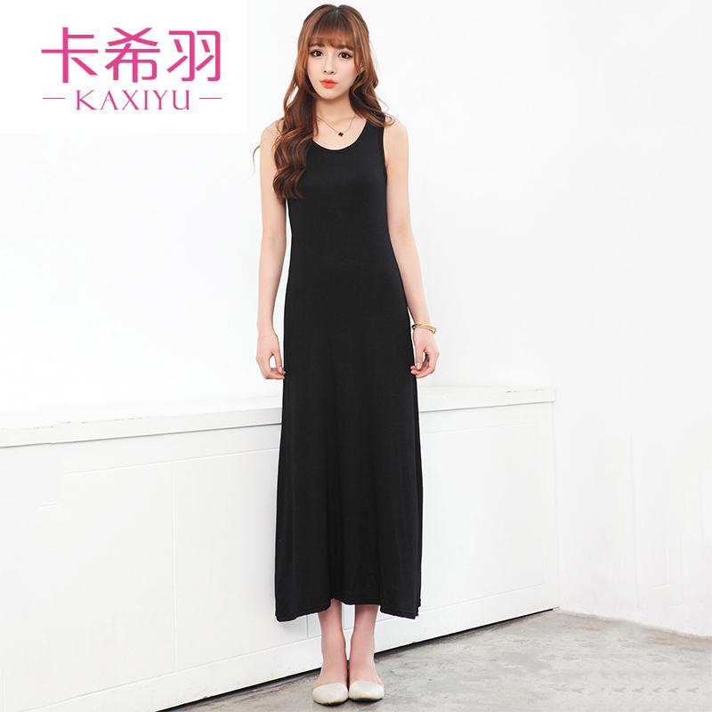 卡希羽波西米亚吊带长裙 春夏天新款连衣裙莫代尔背心长裙