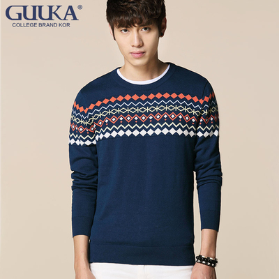 Ancient by the card men's 2014 Hitz national wind round neck sweater hedging casual long-sleeved sweater men