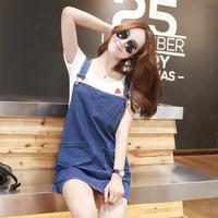 特惠新品实拍2016夏季女装韩版减龄学院风经典牛仔气质百搭背带裙