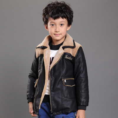 Kids leather 2014 fall and winter clothes new boys and girls pu leather jacket Korean children coat big virgin coat tide