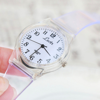 LSVTR Korean fashion transparent jelly candy color belt female form waterproof watch lovers male student waterproof watch
