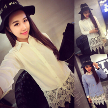 Spring 2015 new women's clothing Han Fan big money hem lace stitching with long white shirt in the waist