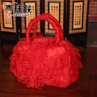 Flora wedding supplies wedding red satin lace bridal package bridesmaid bag bride bag wedding bags