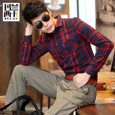 Manuel Sika warm winter models male taxi thick velvet shirt casual plaid long-sleeved shirt Korean version of the influx of men
