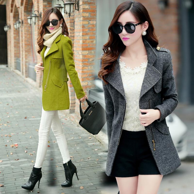 женское пальто 2014 в осенний и зимний плюс размер женщин носить густой теплой жира мм тонкие длинные пальто шерсти пальто в корейской версии прилива