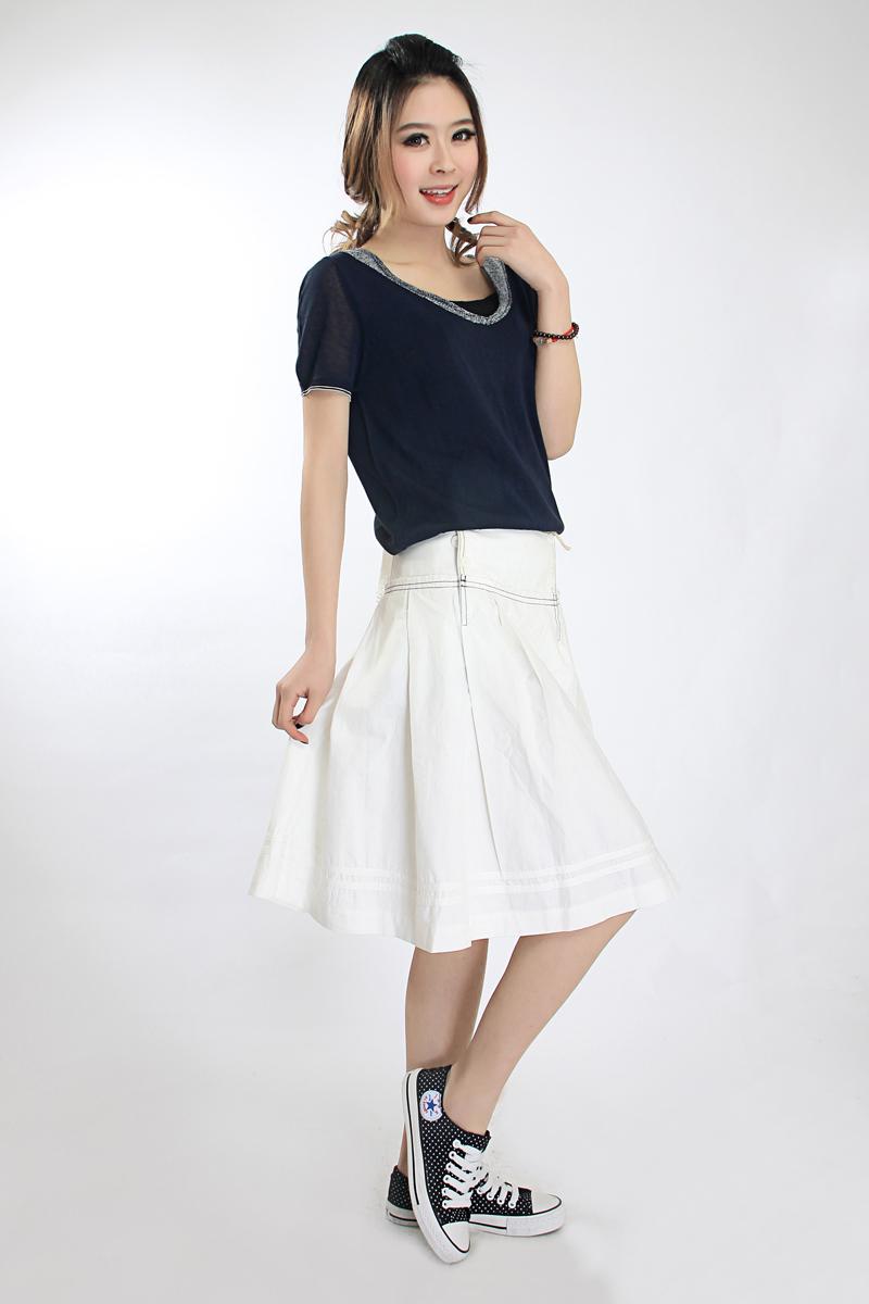专柜正品2014 ott夏时尚品牌女装潮流白色中腰半身裙短裙