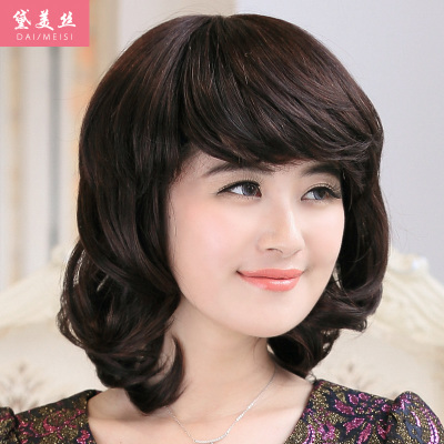 Dai Meisi elderly mom real hair wig wig repair face long fluffy female fashion models mom wig