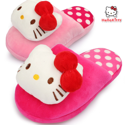 Hello Kitty slippers shoes baby girls winter 2014 new heavy-bottomed cotton linters drag children home warm slippers shoes