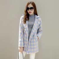 妮子大衣韩版学院风冬装新款茧型毛呢外套女中长款修身显瘦韩范潮