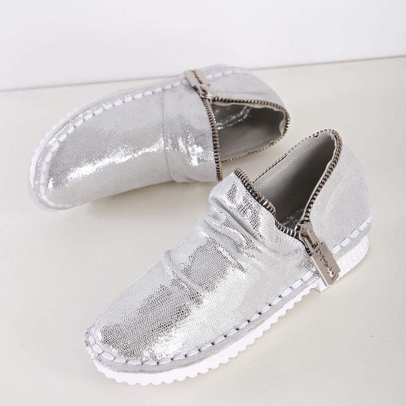 2015金属贴片扣链子复古华丽闪面真皮按摩底懒人鞋牛筋底舒适单鞋