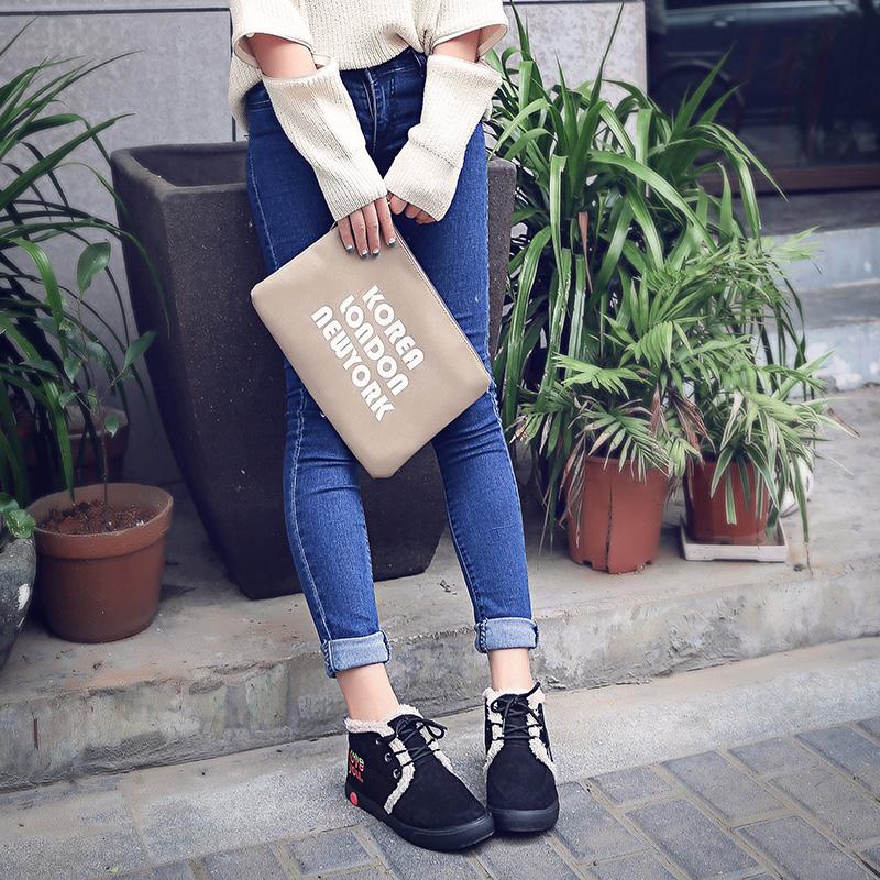 靴子雪地靴女短筒学生短靴二棉鞋女冬季保暖加绒2016新款平底韩版