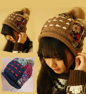 Winter days, new hair balls plus cashmere thermal hit color manual patch beggar hat wool hat female Korean tide