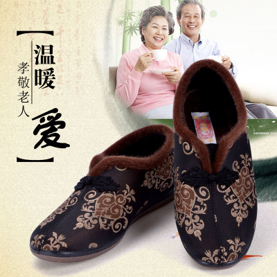 Traditional non-slip padded shoes intrauterine elderly grandmother warm winter shoes to send old Beijing cloth shoes in the elderly mother