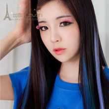 Silk wan son Matte color wig Straight hair piece gradient highlights strip non-trace hair bundle