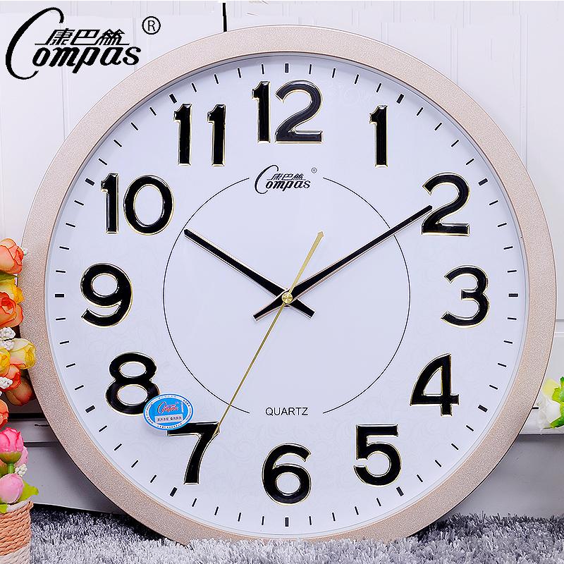 康巴丝时尚立体数字创意简约客厅卧室石英钟静音16英寸圆形挂钟
