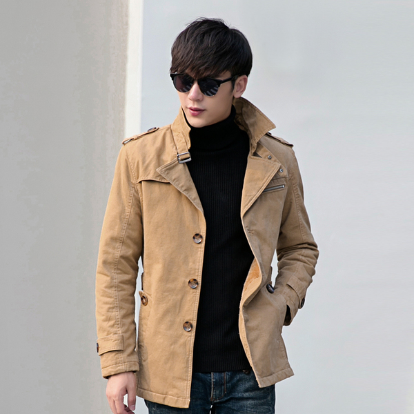 Men's winter jacket spring and winter Korean Slim cotton velvet jacket big yards long section jacket