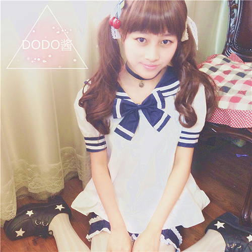日本原宿软妹幼稚园萌系海军领水手服lolita蝴蝶结cos制服娃娃衫