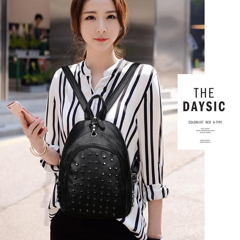 两用双肩包女胸包2016秋季新款韩版时尚背包铆钉旅行包学生书包