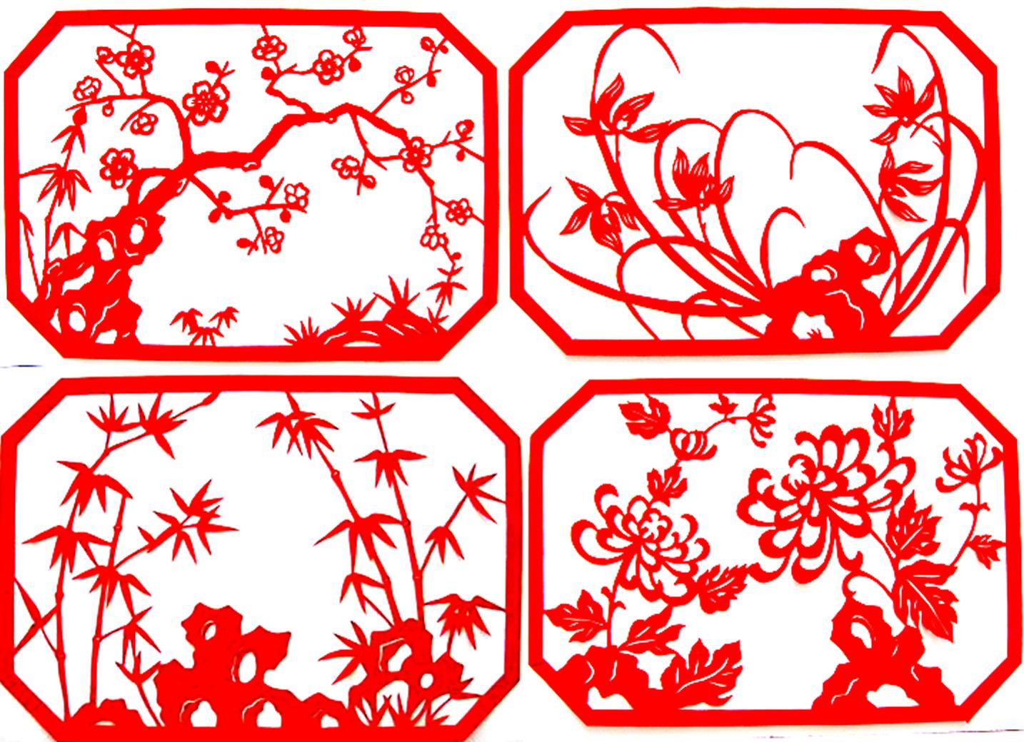 十二生肖动物兔剪纸 纯手工 窗花 卡通剪纸 双面红宣纸 1元特价