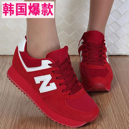 特价清仓大红色女鞋运动休闲鞋软底增高女鞋旅游波鞋N字秋季女鞋