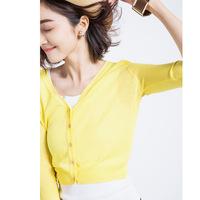 爆款2016春夏季韩版薄七分袖纯色针织衫开衫空调防晒衫女装