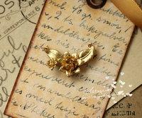 优质环保饰品配件 镀亚金色  连生花 日网截图