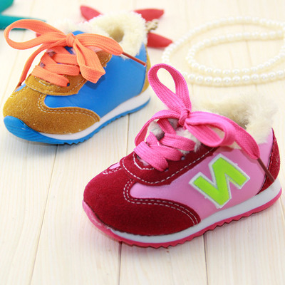2014 winter new children's shoes, children's shoes wholesale small children plus thick velvet lace soft bottom baby toddler shoes