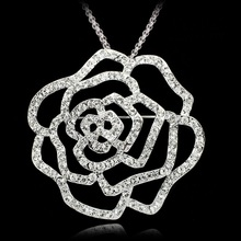 Pin female chain.scarves buckle crystal alloy corsage pin rose pendant necklace and zircon South Korea, Japan and decoration